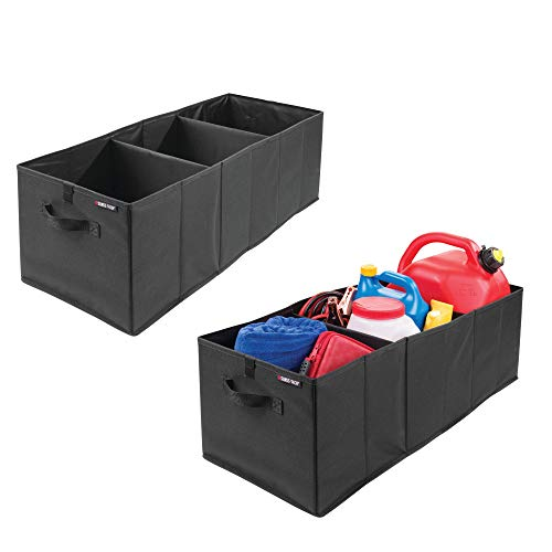 Car Bin Storage (mDesign Expandable/Collapsible Cargo Trunk Storage Organizer Bin for Cars, Trucks, SUVs, Minivans, RVs, Campers - Water Resistant - 2 Pack - Black)