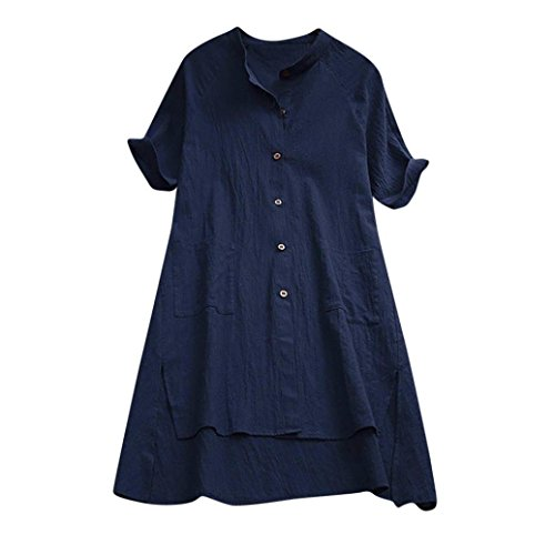 iDWZA Women Ladies Fashion Solid Asymmetrical Loose Tunic Buttons Tops T Shirt Blouse (Navy, XL)