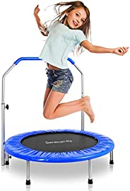 SereneLife 26 Inch Round Exercise Trampoline - Heavy Duty Foldable Bouncer Indoor Outdoor Sport Fitness Reboun