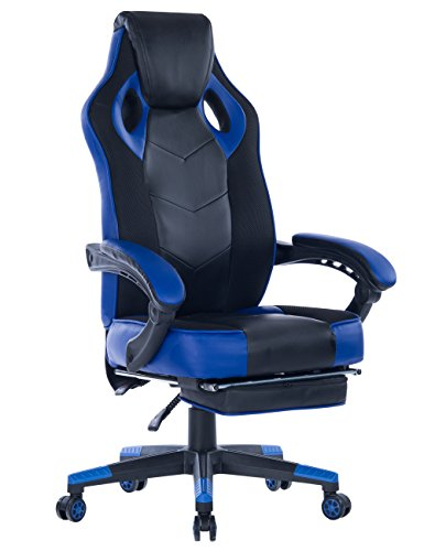 Healgen Gaming Chair with Footrest Racing Computer PC Chair Ergonomic High Back Swivel Executive Office Chair Mesh Leather Reclining Desk Chair Blue