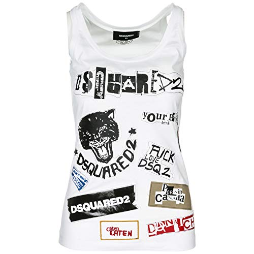 Dsquared2 Mujer S75nc0778s22427100 Algodon Top Blanco FZzrAFwq