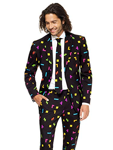 Mens Tetris Suit and Tie By Opposuits, Tetris, -