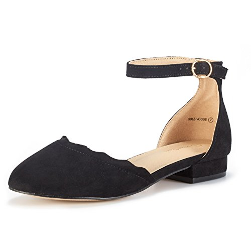 Ankle Strap Ballet Heels - DREAM PAIRS Women's Sole_Vogue Black Fashion Low Stacked Ankle Straps Flats Shoes Size 8.5 M US