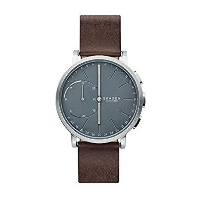 Skagen Connected Men's Hagen Stainless Steel and Leather Hybrid Smartwatch, Color: Silver-Tone, Dark Brown (Model: SKT1110)