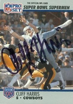 Dallas Cowboys Autographed Pro Football - Cliff Harris autographed Football Card (Dallas Cowboys) 1990 Pro Set #110 - NFL Autographed Football Cards