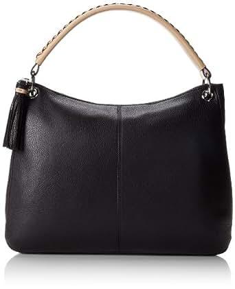 Calvin Klein Key Item Pebble Leather Hobo Shoulder Bag,Black/Silver,One Size