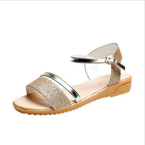 Zapatos los Bajas de Las de Las de del Sandalias Punta Mujeres Planas Las Sandalias Verano con Mujeres Oro Mujeres de Abierta Sandalias gaFwZn