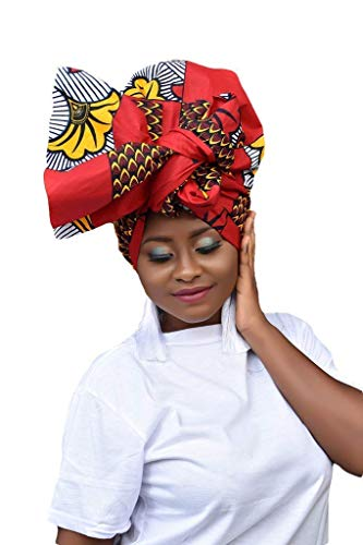 African Head Wraps For Black Women, Red, Ankara Head Wrap, African Turban, Extra Long 72