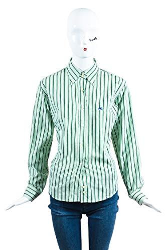 ETRO Women's Green White Striped Long Sleeve Button Down Shirt SZ - Etro Womens Apparel