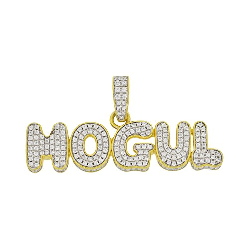 Men's Gold-and-Rhodium-Plated Sterling Silver Round Cut Cubic Zirconia 3d Bubble Mogul Pendant, 0.90