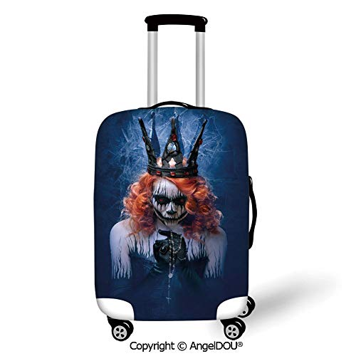 Art Marble 21 Halloween (AngelDOU Trolley Trunk Dust Case Cover Travel Accessories Queen Queen of Death Scary Body Art Halloween Evil Face Bizarre Make Up Zombie Navy Blue Orange Black Elastic Luggage Dust)