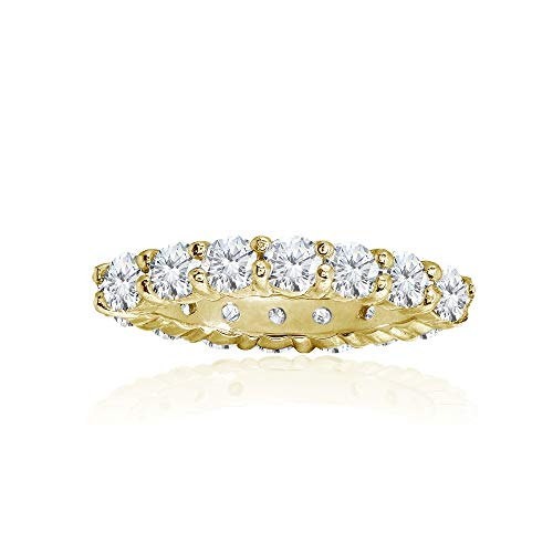 Yellow Gold Flashed Sterling Silver Cubic Zirconia 3mm Round-Cut Anniversary Eternity Band Ring, Size 6