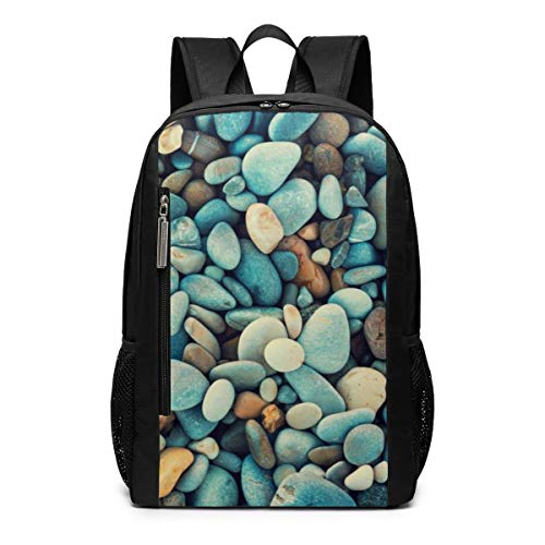 Natural Abstract Vintage Colorful Pebbles Background Outdoor Travel Laptop Backpack Travel Accessories, Fashionable Backpack Suitable for 17 Inches