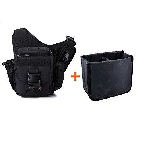 Camera Bag, Qcute Tactical Bag, Shoulder Messenger Bag, Waterproof Multifunctional Sling Bag with Liner, Fit for Hiking, Outdoor Sports, Daily Service and Military Affairs ()