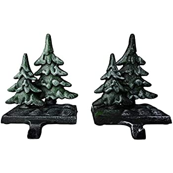 Lulu Decor, Cast Iron Decorative Christmas Double Tree Stocking Holders, Solid, Beautiful, Set of 2 Stocking Hangers, Measures 6