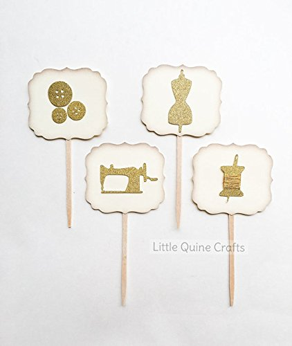 12 vintage plaque fashion designer sewing Theme Gold Glitter mannequin spools buttons sewing machine Cupcake dessert Topper birthday party