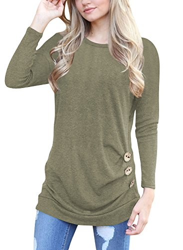 Womens Long Sleeve Tops and Blouses Button Decor Casual Loose Tunics T-Shirt...
