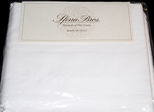 Italy Bed Linens (Sferra 400 TC White 100% Egyptian Cotton Percale QUEEN (4) Piece Sheet Set Made in Italy)