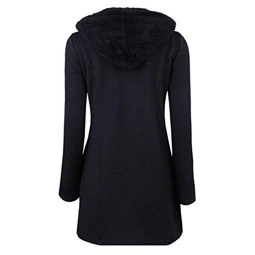 Shobdw Mujeres Capucha Sudadera Gruesos Con Botones Abrigo Más Caliente Negro Moda Invierno Parka ggwAxfUqrP