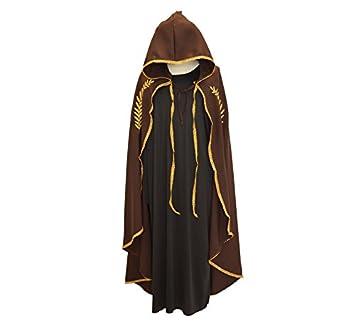 Disfraces Llopis Capa Medieval Mariana Marrón Bordado Oro para Adultos