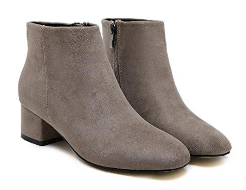 Meili Zapatos Tubo De Ásperas Mujer Salvajes Botas Corto Descubiertas Apricot El Botas Martin Con Redondas wrpxwqTZU
