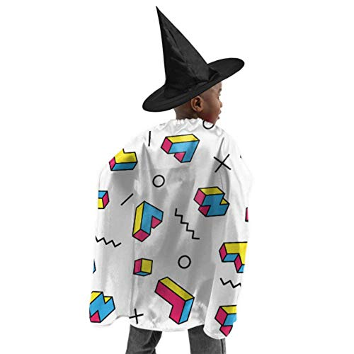 Color Game Three-Dimensional Block Russian Tetris Womans Hooded Cloak Women Cloak with Hood Witch Cloak and Hat Dress Up for Halloween Birthday Party