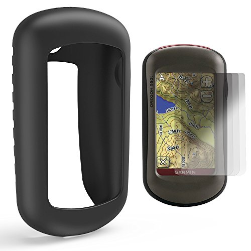 TUSITA Case with Screen Protector for Garmin Oregon 200,300,400,400t,400c,400i,450,450t,550,550t Handheld GPS Navigator,Replacement Silicone Protective Skin Cover Accessories (Black) by TUSITA