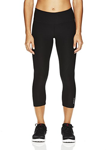 Reebok Women's Printed Capri Leggings with Mid-Rise Waist Performance Compression Tights - Black, Large