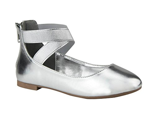 ANNA Girl Kids Dress Ballet Flat Elastic Ankle Strap Ballerina Shoes (9 M US Toddler, -