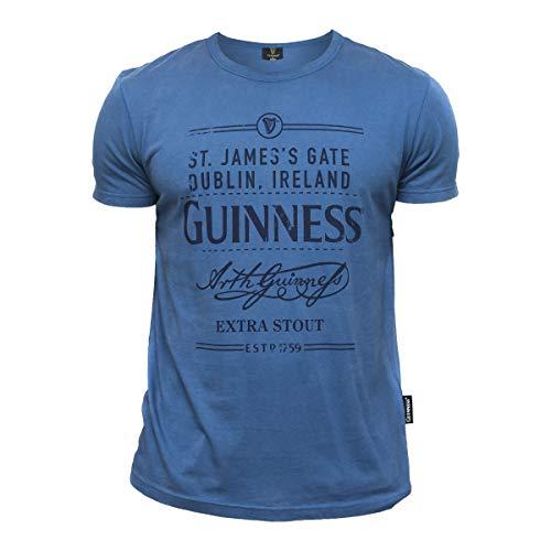 Guinness Men's Blue Cotton St. James's Gate Dublin, Ireland Short Sleeve T-Shirt XL