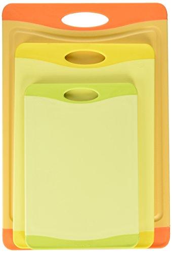 Uniware Microban Antimicrobial Cutting Board Set of 3, Orange/ Yellow / Green
