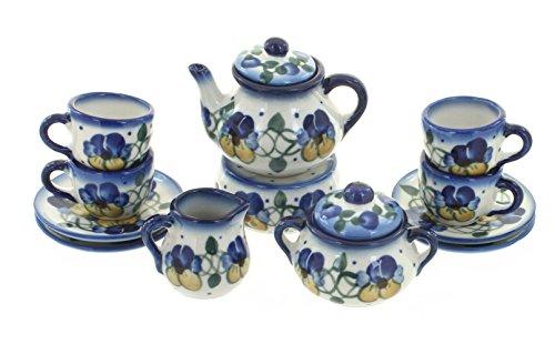 Blue Rose Polish Pottery Pansies Miniature Tea Set