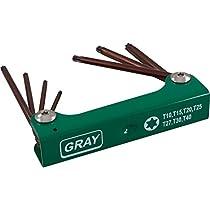 Gray Tools 69927 7 Piece S2 Long Torx, Folding Hex Key Set, T10-T40