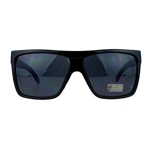 SA106 Limo All Black Flat Top Oversize Gangster Shade Sunglasses Shinny - Kardashian Sunglasses