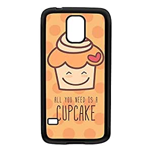 Funny and Lovely Cupcake on Orange Black Silicon Rubber Case for Galaxy S5 by UltraCases + FREE Crystal Clear Screen Protector