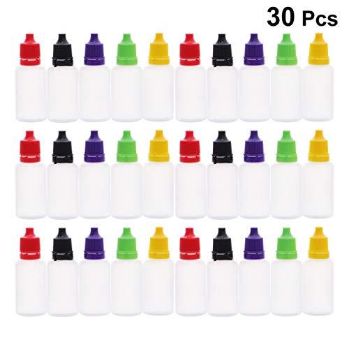 Healifty 30 stücke kunststoff applikatorspitze flaschen mit trichter kunststoff kleber flaschen quetschbare tropfflaschen 20 ml (zufällige farbe)