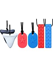 Chew Necklace by GNAWRISHING - 6-Pack ( Dog Tag, Shark and Building  Block)- Perfect for Autistic, ADHD, SPD, Oral Motor Children, Kids, Boys, and Girls (Tough, Long-Lasting)