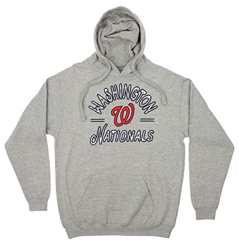 Zubaz MLB Men's Arched Logo Fleece Pullover Hoodie, Washington Nationals, Medium
