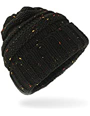 ANGUO Women's Warm Chunky Thick Stretchy Knit Beanie Skull Cap Winter Knitting Warm Hat(Black)