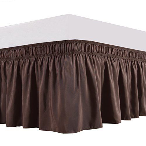 Biscaynebay Wrap Around Bed Skirt, Elastic Dust Ruffle Easy Fit Wrinkle and Fade Resistant Solid Color Hotel Quality Fabric, Queen, Dark Taupe