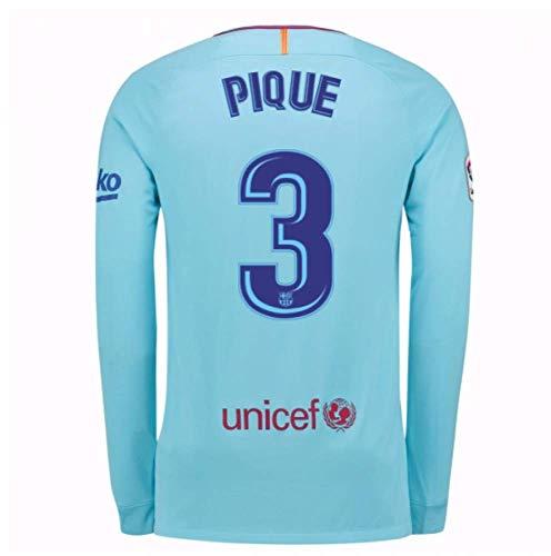 (2017-2018 Barcelona Away Long Sleeve Football Soccer T-Shirt Jersey (Gerard Pique 3))