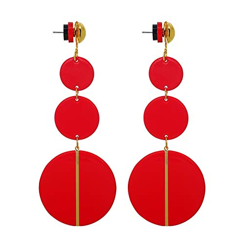 Jinling Acrylic Red Earrings for Women Dangle- Bohemian Statement Earrings Resin Stud Earrings for Women Girls Fashion Jewelry (red)