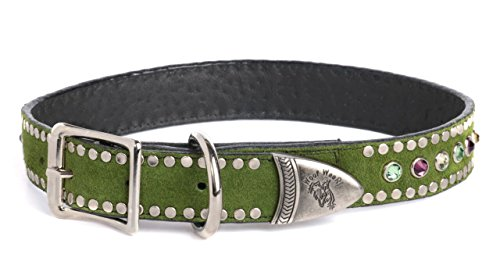 14 Tri Stone - Dog Collar 100% Suede Italian Leather With Tri Colored Swarovski Crystals - Olive Green - 3/4