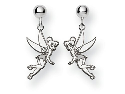 Disney Tinker Bell Dangle Post Earrings Sterling (Disney Tinkerbell Earrings)