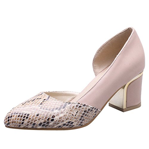 Mee Shoes Women's Office Mid Block Heel Slip On Court Shoes Pink hJofYpm2Mu