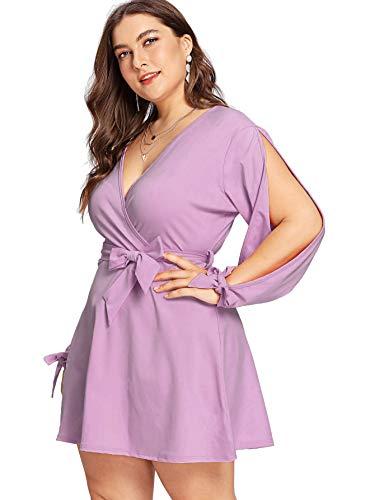 Shift Dress Mini Dress V Plus Knot Belted Waist Shoulder Tie Purple Cold Neck Wrap Milumia Size wqOUI6InB