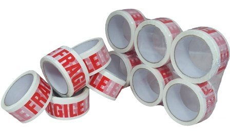 36 Rolls Of LOW NOISE FRAGILE Packing Tape 48mm x 66M Globe Packaging