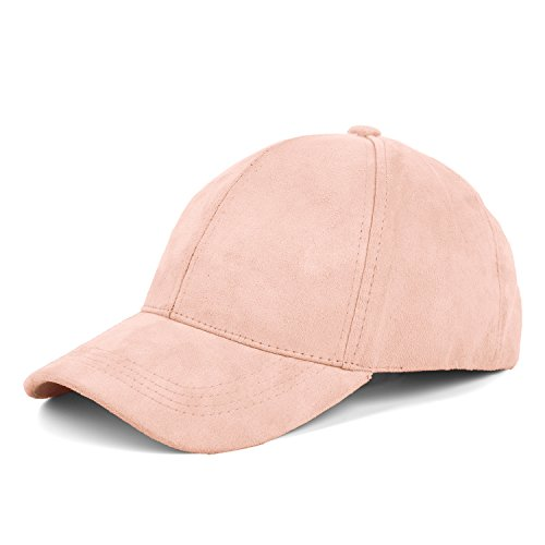 JOOWEN 6 Panel Faux Suede Leather Classic Adjustable Baseball Cap (Light Pink)