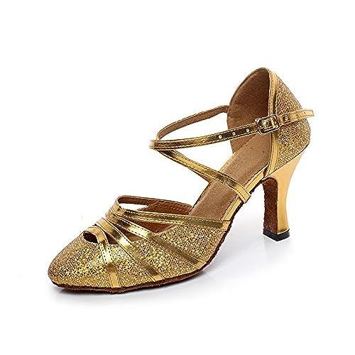 Barato JSHOE Zapatos De Danza Latina Para Mujer De Tacón Cerrado De Tacón  Alto EN Cuero 882892b12c12