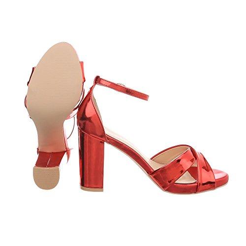 Heel Kitten Sandales Ital Escarpins Chaussures Femme High rouge Design Sandales 7031 Heel 1znHwOq